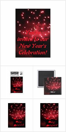New Year Design Red Fireworks