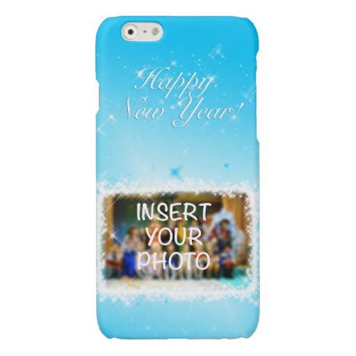 New Year Design! Stars in the Blue Sky. Add Photo. Glossy iPhone 6 Case