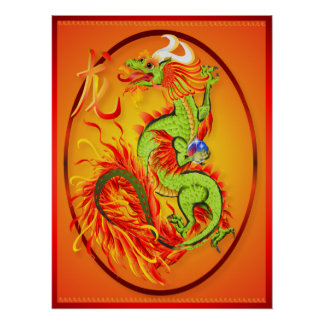 New Year Dragon and Symbol Oval Poster