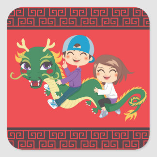 New Year Dragon Ride Square Sticker