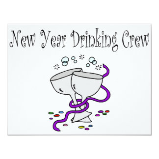 New Year Drinking Crew Martini Glasses Card