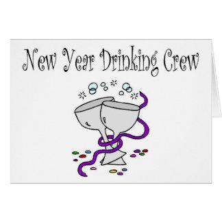 New Year Drinking Crew Martini Glasses Greeting Card