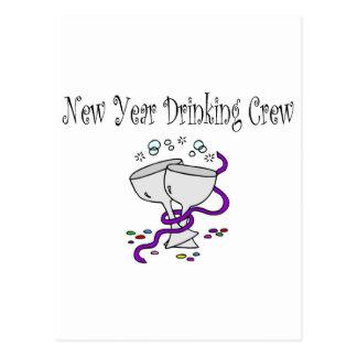 New Year Drinking Crew Martini Glasses Postcard