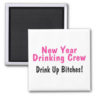 New Year Drinking Crew Pink Magnet