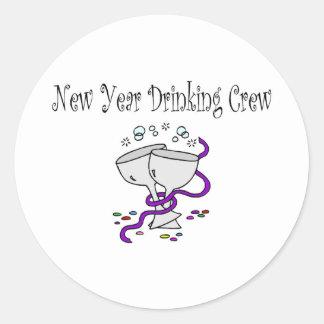 New Year Drinking Crew Classic Round Sticker