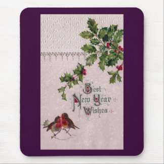 New Year Euro Robins and Holly Mouse Pad