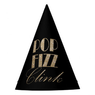 New Year Eve Gold and Black Pop Fizz Clink Party Hat