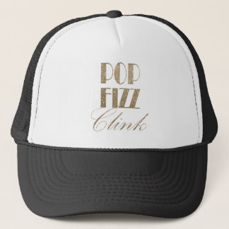 New Year Eve Gold and Black Pop Fizz Clink Trucker Hat