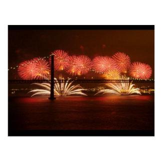 New year Firework Lisbon Postcard