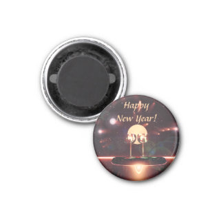 New Year Fireworks and Champagne 1 Inch Round Magnet