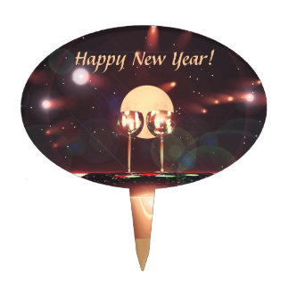 New Year Fireworks and Champagne Cake Topper