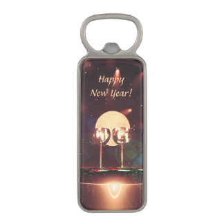 New Year Fireworks and Champagne Magnetic Bottle Opener
