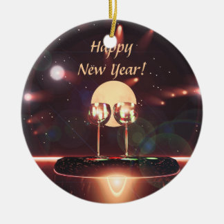 New Year Fireworks and Champagne Christmas Ornaments