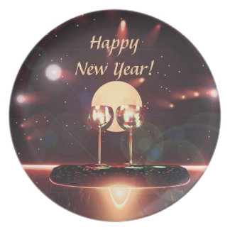 New Year Fireworks and Champagne Party Plate