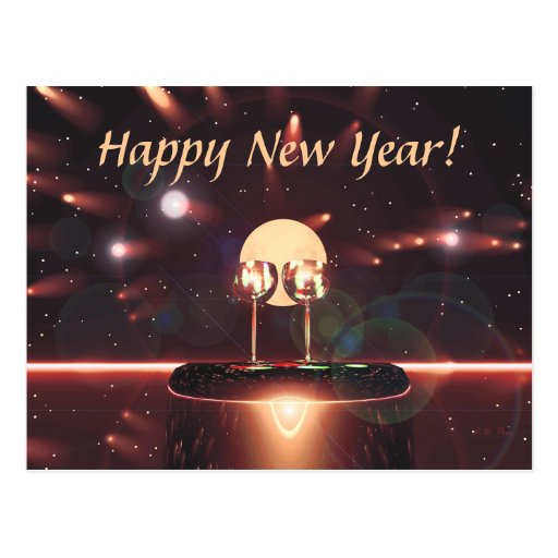 New Year Fireworks and Champagne Postcard