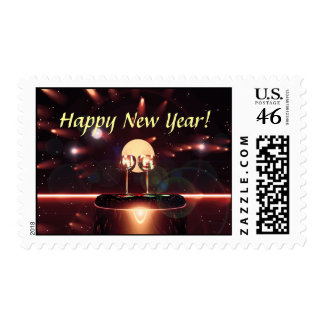 New Year Fireworks and Champagne Stamp