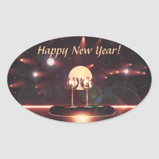 New Year Fireworks and Champagne Oval Sticker