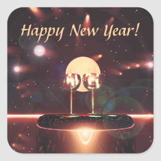 New Year Fireworks and Champagne Square Sticker