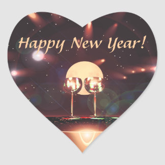 New Year Fireworks and Champagne Heart Sticker