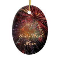 New Year Fireworks Sparkles Ceramic Ornament