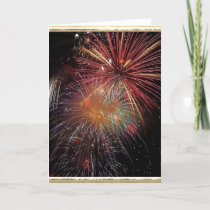 New Year Fireworks Sparkles Holiday Card