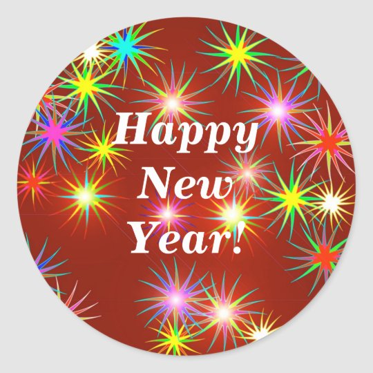 New Year Flash Classic Round Sticker