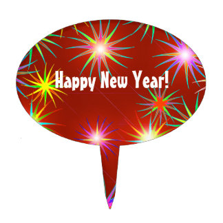 New Year Flash on Red Oval Cake Toppers