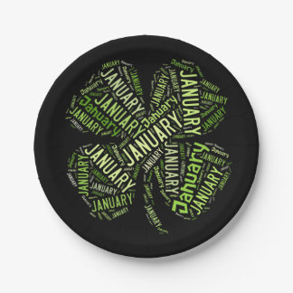 New Year Four Leaf Clover Black Green January Paper Plate
