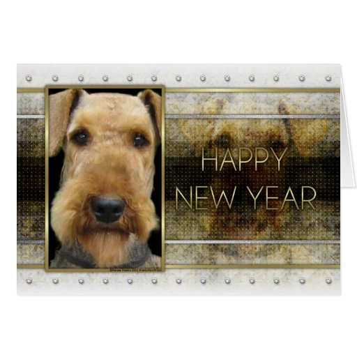 New Year - Golden Elegance - Airedale Cards