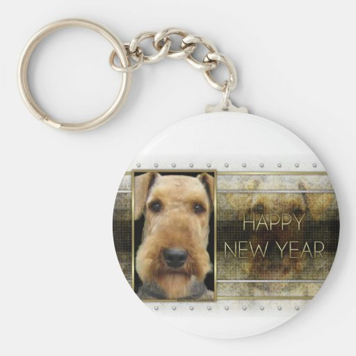 New Year - Golden Elegance - Airedale Keychains