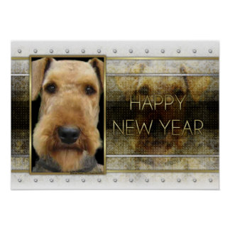 New Year - Golden Elegance - Airedale Poster