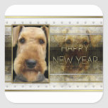 New Year - Golden Elegance - Airedale Square Stickers