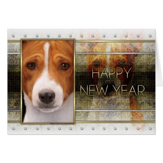 New Year - Golden Elegance - Basenji Card