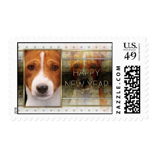 New Year - Golden Elegance - Basenji Stamps