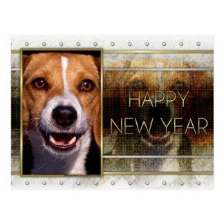 New Year - Golden Elegance - Beagle Postcard