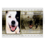 New Year - Golden Elegance - Border Collie Stationery Note Card