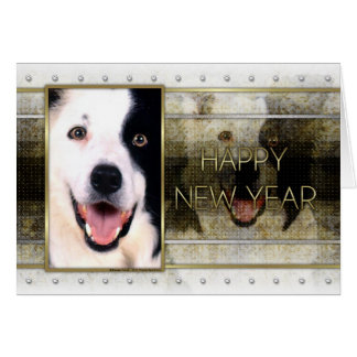 New Year - Golden Elegance - Border Collie Greeting Cards