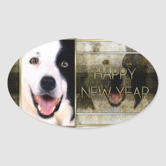 New Year - Golden Elegance - Border Collie Oval Stickers