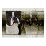New Year - Golden Elegance - Boston Terrier Greeting Card