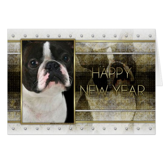 New Year - Golden Elegance - Boston Terrier Card