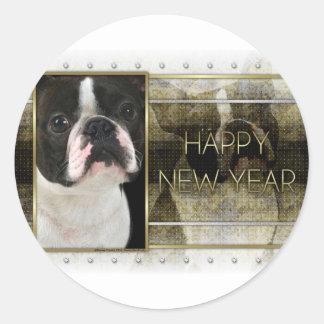 New Year - Golden Elegance - Boston Terrier Classic Round Sticker