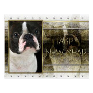 New Year - Golden Elegance - Boston Terrier Postcard