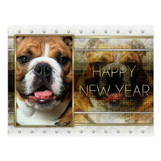 New Year - Golden Elegance - Bulldog Postcard