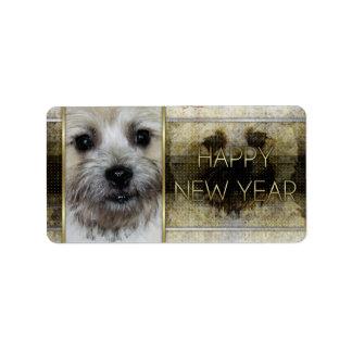 New Year - Golden Elegance - Cairn Terrier Custom Address Label