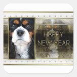 New Year - Golden Elegance - Cavalier Tri-color Square Sticker