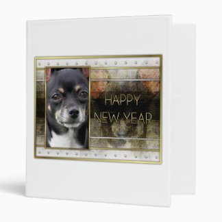 New Year - Golden Elegance - Chihuahua - Isabella 3 Ring Binder