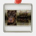 New Year - Golden Elegance - Doberman - Red -Rocky Christmas Tree Ornament