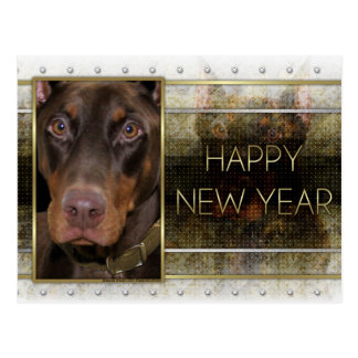 New Year - Golden Elegance - Doberman - Red -Rocky Postcard