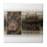 New Year - Golden Elegance - Doberman - Red -Rocky Ceramic Tiles