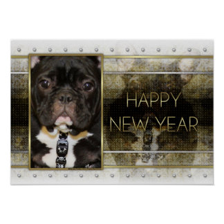 New Year - Golden Elegance - French Bulldog - Teal Poster
